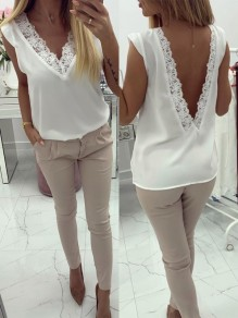 White Patchwork Lace Backless V-neck Sleeveless Fashion Going out Blouse