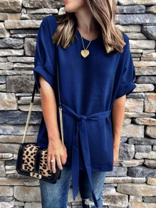 Blue Sashes Bodycon Comfy Round Neck Short Sleeve Going out Blouse
