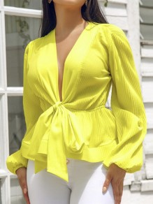 Neon Yellow Belt Peplum V-neck Lantern Sleeve Elegant Party Blouse