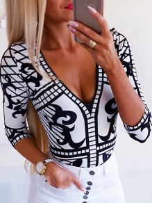 Black-White Print Comfy V-neck Three Quarter Length Sleeve Blouse