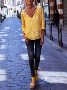 Yellow Print Going out Fashion Comfy Long Sleeve Blouse