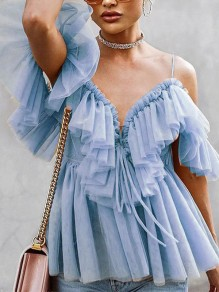 Blue Patchwork Grenadine Cascading Ruffle Lace-up Spaghetti Strap V-neck Party Blouse