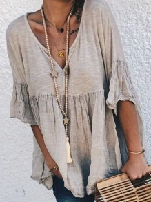 Grey Patchwork V-neck Elbow Sleeve Going out Blouse