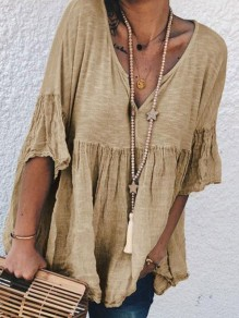 Brown Patchwork V-neck Elbow Sleeve Going out Blouse