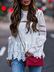 White Patchwork Lace Cut Out Round Neck Flare Sleeve Elegant Casual Blouse