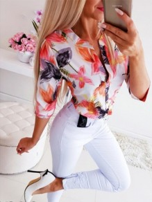 White Print Going out Fashion Comfy Three Quarter Length Sleeve Blouse