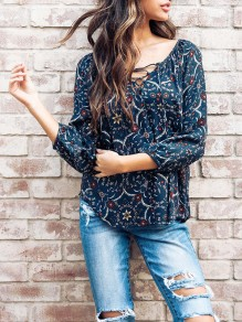 Blue Floral Embroidery Print V-neck Long Sleeve Fashion Blouse
