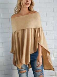 Khaki Going out Fashion Comfy Three Quarter Length Sleeve Blouse