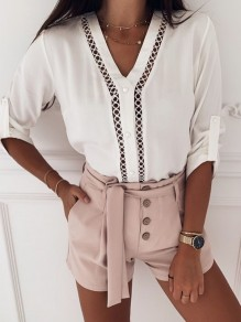 White Going out Fashion Comfy Long Sleeve Blouse