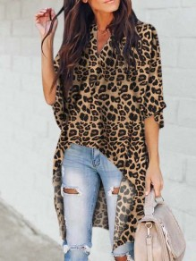 Yellow Leopard Pattern Pleated High-Low V-neck Dolman Sleeve Casual Blouse