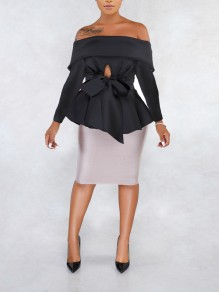 Black Off Shoulder Bow Ruffle Peplum Elegant Party Blouse