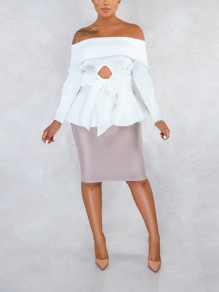 White Off Shoulder Bow Ruffle Peplum Elegant Party Blouse