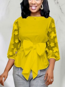 Yellow Patchwork Grenadine Bow Peplum Party Blouse