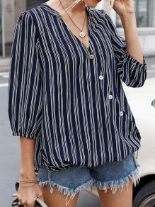 Blue Button Striped V-neck Elbow Sleeve Oversize Blouse