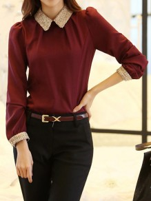 Burgundy Patchwork Draped Chiffon Peter Pan Collar Long Sleeve Elegant Blouse