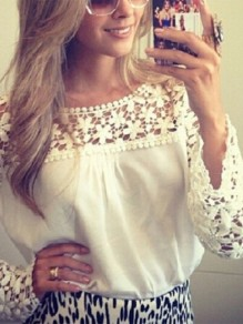 White Patchwork Lace Chiffon Round Neck Long Sleeve Going out Blouse