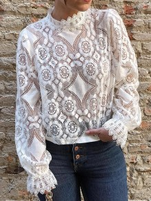 White Lace Buttons Band Collar Long Sleeve Fashion Blouse