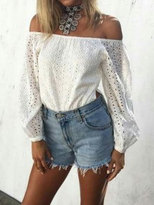 White Lace Side Slit Off Shoulder Long Sleeve Fashion Blouse