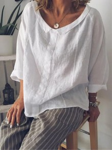 White Turndown Collar Long Sleeve Fashion Going out Blouse