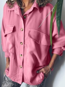 Red Pockets Single Breasted Turndown Collar Long Sleeve Fashion Blouse
