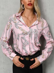 Pink Floral Pattern Single Breasted Bodycon V-neck Sweet Blouse