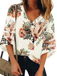 White Floral Appliques Print Long Sleeve V-neck Fashion Blouse