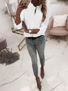 White Single Breasted Bodycon Long Sleeve Going out Blouse