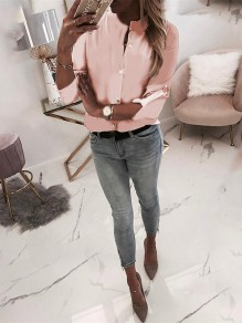 Pink Single Breasted Bodycon Long Sleeve Going out Blouse