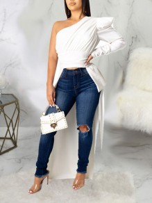 White Asymmetric Shoulder Pleated Irregular High-Low Party Blouse