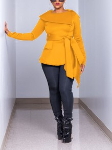 Yellow Buttons Pockets Belt Irregular Long Sleeve Elegant Blouse