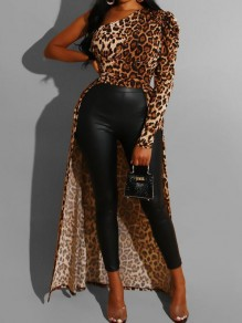 Brown Polka Dot Irregular Asymmetric Shoulder High-low Backless Elegant Party Blouse