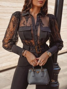Black Patchwork Lace Pockets Long Sleeve Going out Blouse