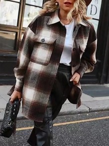 Brown White Plaid Pattern Oversize Long Sleeve Vintage Blouse