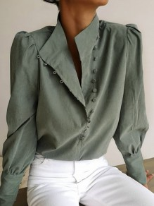 Green Single Breasted Band Collar Long Sleeve Fashion Blouse