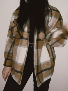Yellow Plaid Single Breasted Pockets Turndown Collar Long Sleeve Blouse