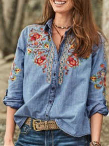 Blue Flowers Embroidery Turndown Collar Long Sleeve Fashion Blouse