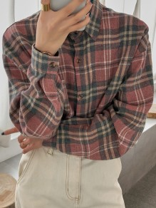 Pink Plaid Print Single Breasted Pockets Long Sleeve Blouse