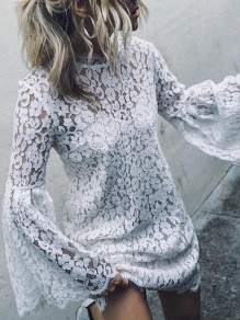 White Patchwork Lace Flare Sleeve Band Collar Elegant Blouses