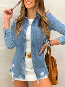 Blue Single Breasted Pockets Cut Out Long Sleeve Jeans Blouse