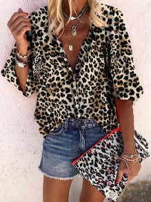 Leopard Print Buttons V-neck Elbow Sleeve Chiffon Casual Blouse