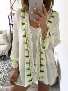 White Print Casual Going out Sweet Chiffon Long Sleeve Blouse