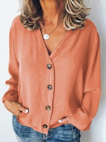 Orange Single Breasted V-neck Long Sleeve Fashion Blouse