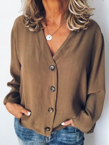 Brown Single Breasted V-neck Long Sleeve Fashion Blouse