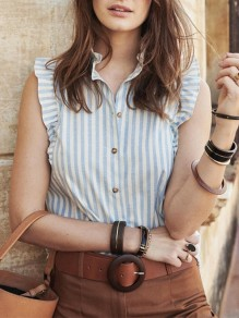 Blue Striped Irregular Ruffle Band Collar Fashion Blouse