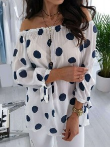 White Polka Dot Draped Chiffon Boat Neck Long Sleeve Going out Blouse