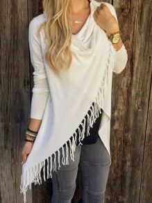 White Tassel Going out Comfy Multi Way Long Sleeve Blouse
