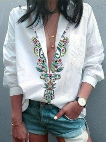 White Print Going out V-neck Three Quarter Length Sleeve Blouse