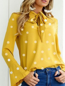 23418c520039e6 Yellow Polka Dot Print Bow High Neck Long Sleeve Fashion Blouse