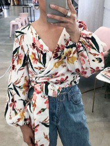 White Floral Pleated Irregular Knot V-neck Long Sleeve Blouse