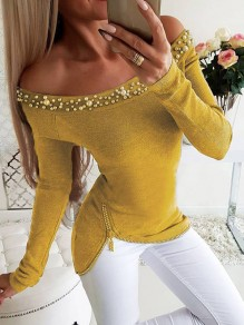 Yellow Patchwork Pearl Zipper Off Shoulder Long Sleeve Blouse